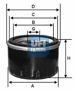 2311800 UFI Oil Filter Oil Spin-On