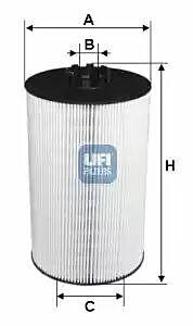 2500700 UFI Oil Filter Oil Cartridge