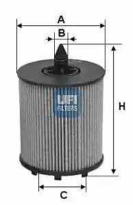 2502400 UFI Oil Filter Oil Cartridge