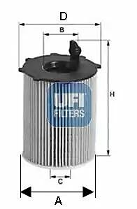 2514100 UFI Oil Filter Oil Cartridge