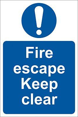 Draper 'Fire Escape Keep Clear' Mandatory Sign | 72146