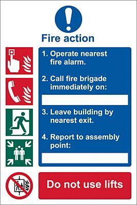 Draper 'Fire Action Procedure' Mandatory Sign | 72154