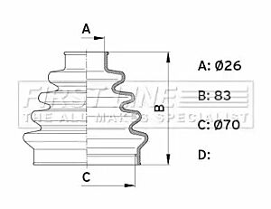 Cv Joint Boot Kit Bellow FCB1005 by First Line