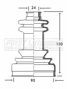 Cv Joint Boot Kit Bellow FCB2038 by First Line