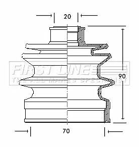 Cv Joint Boot Kit Bellow FCB2057 by First Line