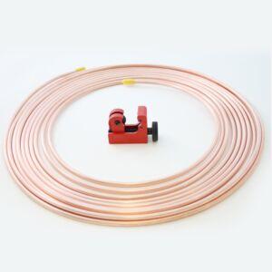 """25ft Brake Copper Petrol Pipe. 3/16"""" OD x 0.131"""" ID + Mini Tubing cutter"""