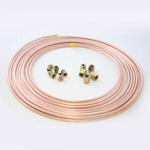 "25ft Copper Brake Line Pipe 3/16"" OD x 0.131"" ID 5 male 5 female nut"
