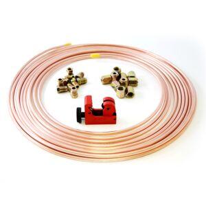 25ft Brake Copper Pipe/10 x Male Nuts/10 x Female Nuts/Tube Cutter