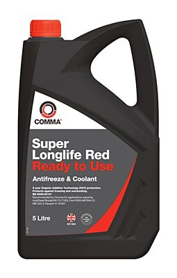 Super Longlife Red Antifreeze & Coolant - Ready To Use - 5 Litre SLC5L COMMA