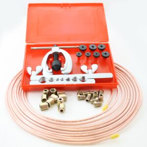 25ft Copper Brake Pipe Tube 10 x Male & Female Nuts & 9 Piece Flaring Tool Kit