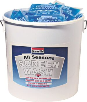 Screenwash Bucket - Ready Mixed (-20┬░C) - 72 x 75ml Sachets 0285 GRANVILLE