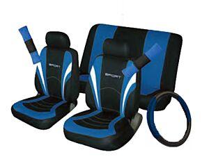 Car Seat, Steering Wheel & Seatbelt Cover Sport - Set - Black/Blue 10991 COSMOS