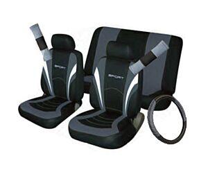 Car Seat, Steering Wheel & Seatbelt Cover Sport - Set - Black/Grey 10992 COSMOS