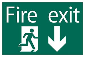 Draper 'Fire Exit Arrow Down' Safety Sign   72446