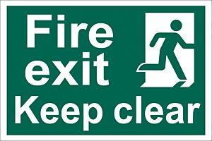 Draper 'Fire Exit Keep Clear' Safety Sign | 72450