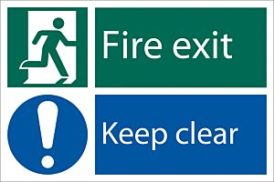 Draper 'Fire Exit Keep Clear' Safety Sign   72458