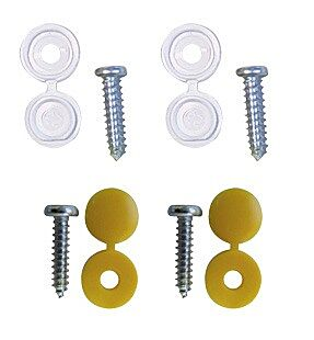 Number Plate Caps & Screws - White & Yellow - Pack Of 4 PWN548 WOT-NOTS